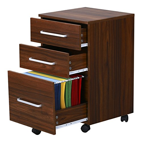 3 Drawer Wood File Cabinet With Wheels By Devaise Walnut